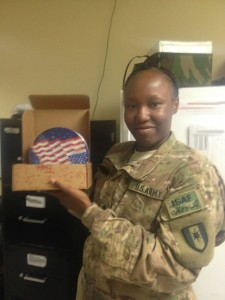 support our troops soldier shows off care package