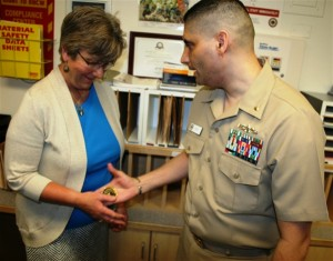 support our troops us navy lt presents his personal coin