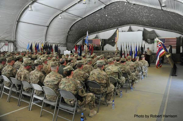 Task Force Longhorn, the 303rd Military Intelligence Battalion, transferred its Resolute Support mission authority to TF Sentinels, the 502nd MI Battalion, during a ceremony held June 13, 2016 at Bagram Airfield, Afghanistan