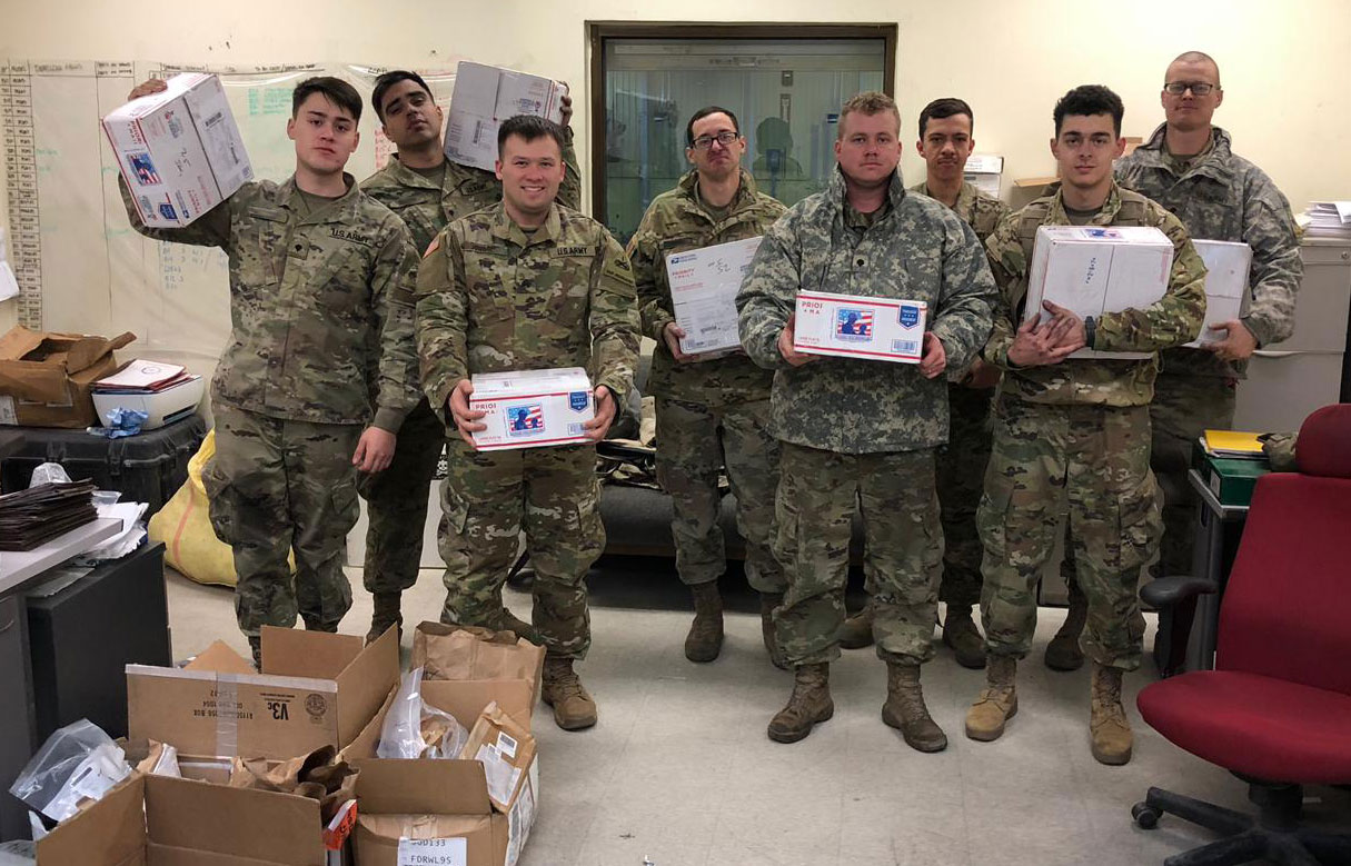 Location Undisclosed, February 25, 2019,  Thank you so much for the care packages.  It made my guys' day after a hard day's work to see a package for them. Thank you for your support. SSG David [ ]