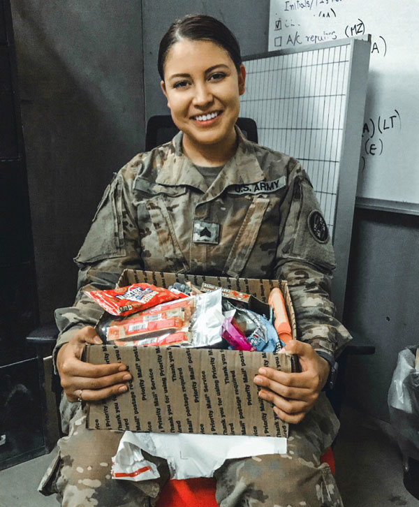 Thank you so much for sending my care package. Hearing that I have mail while deployed makes a world of difference, even more when it's from back home. The letters and cards were beautiful, I appreciate it more than you know!! ~~ SGT Reanna [ ]