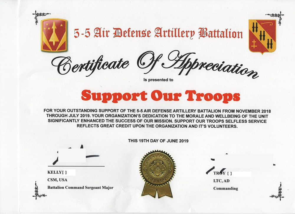 As the Battalion chaplain, I wanted to send a personal note of thanks for supporting our BN during the  last year. Your contributions helped lighten the load of our Soldiers and brought many a smile, something not easy to do when you are isolated. Thank you again.