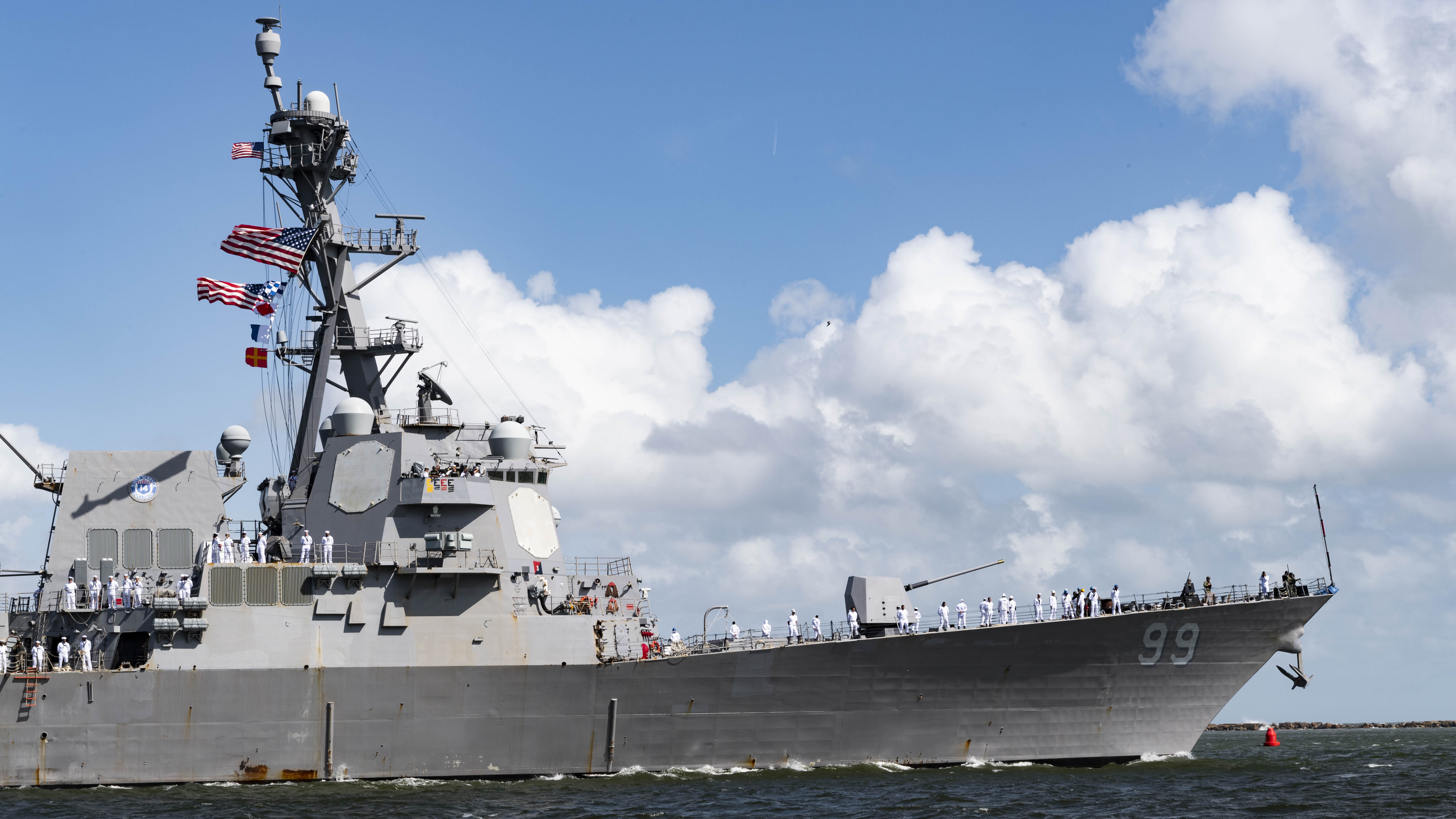 Mayport, Fla. (Sept. 14, 2019) The Arleigh Burke-class guided-missile destroyer USS Farragut (DDG 99) departs Naval Station Mayport. Farragut is among ships and units from the Harry S. Truman Carrier Strike Group that formed a Surface Action Group (SAG) and are deploying from their East Coast homeports of Norfolk, Va. and Mayport, Fla.  Photo by Mass Communication Specialist 2nd Class Anderson [  ].