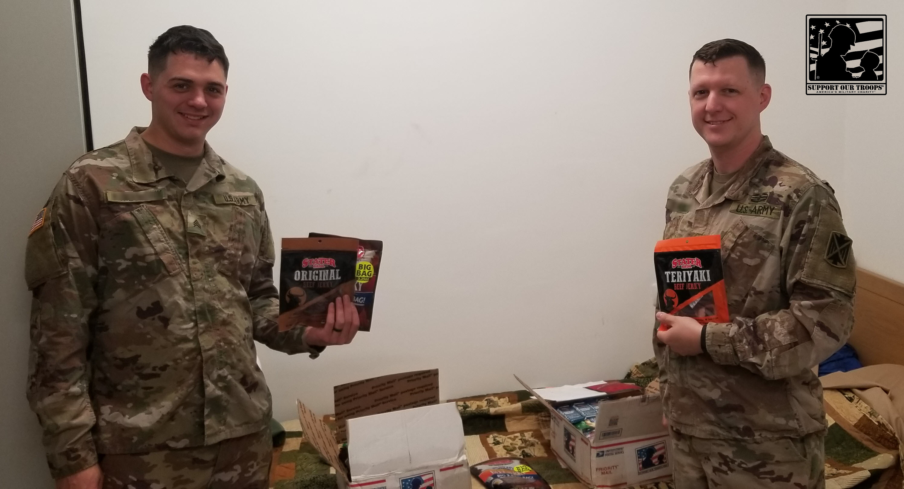 We really appreciate the support from you guys! It is a huge spirit lifter to get some food from back home when you have been on an all hummus diet for the past two weeks.  ~~ Jasper [  ], U. S. Army