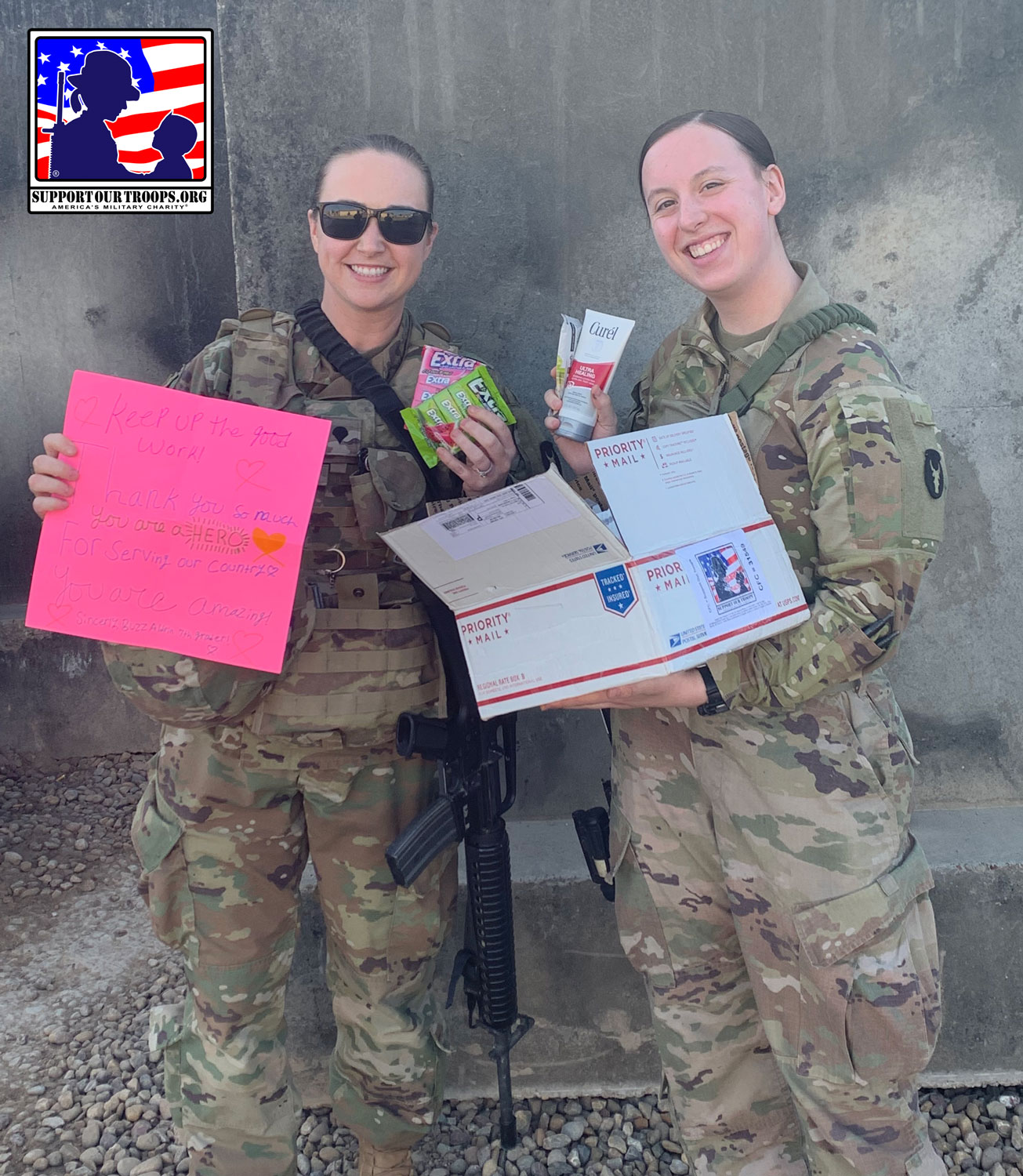 LOCATION UNDISCLOSED, April 4, 2020-Received this care package today (I'm the one in the left) and I got to share it with one of my battle buddies!  Thank you so much this box was absolutely perfect! God Bless you all ~~ SPC Meghan [  ]