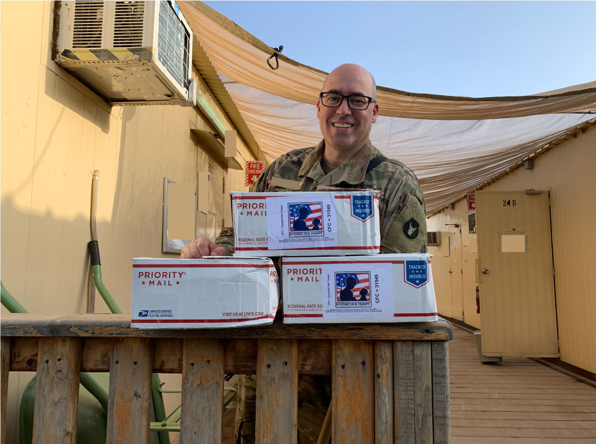 SW Asia, May, 2020-Thank you to everyone for their support and care packages. I shared them with the guys in my section and they were very grateful for the items and messages.  ~~ Michael, 34th Combat Aviation Brigade