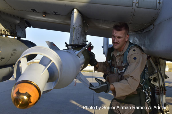 Air Force Lt. Col. Ben Rudolphi, the commander of the 407th Expeditionary Operation Support Squadron, conducts a preflight munitions check on his A-10 Thunderbolt II at Incirlik Air Base, Turkey, July 11, 2017. Rudolphi has played a dual role in Operation Inherent Resolve, serving as a squadron commander and flying A-10s in the fight against the Islamic State of Iraq and Syria with the 477th Air Expeditionary Group. Air Force photo by Senior Airman Ramon A. Adelan