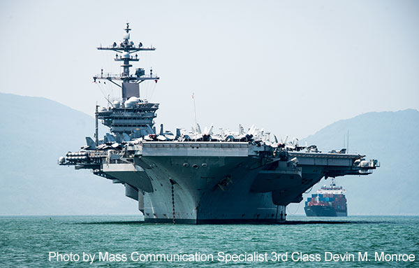 The Nimitz-class aircraft carrier USS Carl Vinson (CVN 70) arrives in Da Nang, Vietnam for a scheduled port visit. The Carl Vinson Strike Group is in the western Pacific as part of a regularly scheduled deployment.
