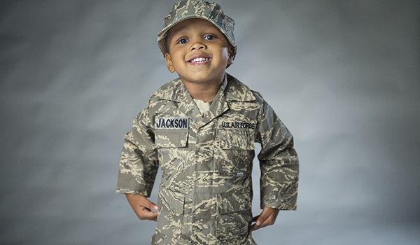 Makell Jackson, son of Staff Sgt. Mackenzie Jackson, smiles for a portrait. U.S. Air Force photo by Staff Sgt. Vernon Young Jr.