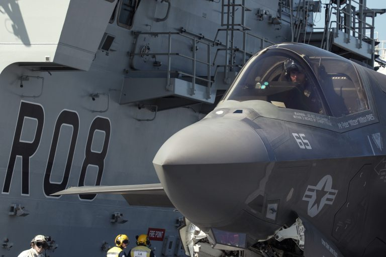 Royal Navy Cmdr. Nathan Gray in his F35B following the first deck landing aboard HMS Queen Elizabeth. Gray and Royal Air Force Sq. Ldr. Andy Edgell, both test pilots at the F-35 Integrated Test Force at Naval Air Station Patuxent River, Maryland, landed the first two jets on the new British aircraft carrier this week. Photo: Petty Officer Aaron Hoare, Royal Navy