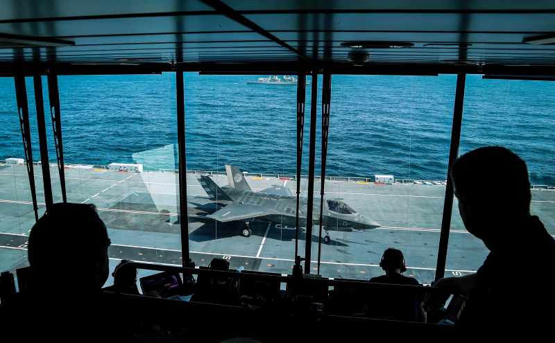 The view from the 'Flyco' of an F-35B Lightning II jet vertically landing onboard HMS Queen Elizabeth. Photo: Petty Officer Matt Bonner, Royal Navy