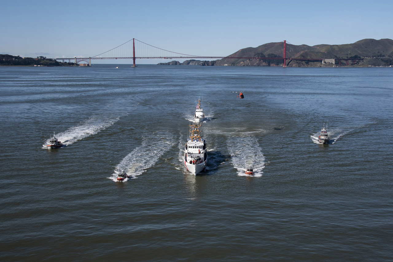 The Coast Guard Cutter Robert Ward is escorted by San Francisco and Sacramento Coast Guard assets as the crew journeys to Coast Guard Sector San Francisco on Yerba Buena Island for a ceremonial commissioning, Feb. 22, 2019. The Robert Ward was the second fast response cutter to be stationed in California and will provide vital capabilities to the Coast Guard in ensuring the safety and security of California's shipping ports. Photo By: Coast Guard Petty Officer 3rd Class Jordan Akiyama