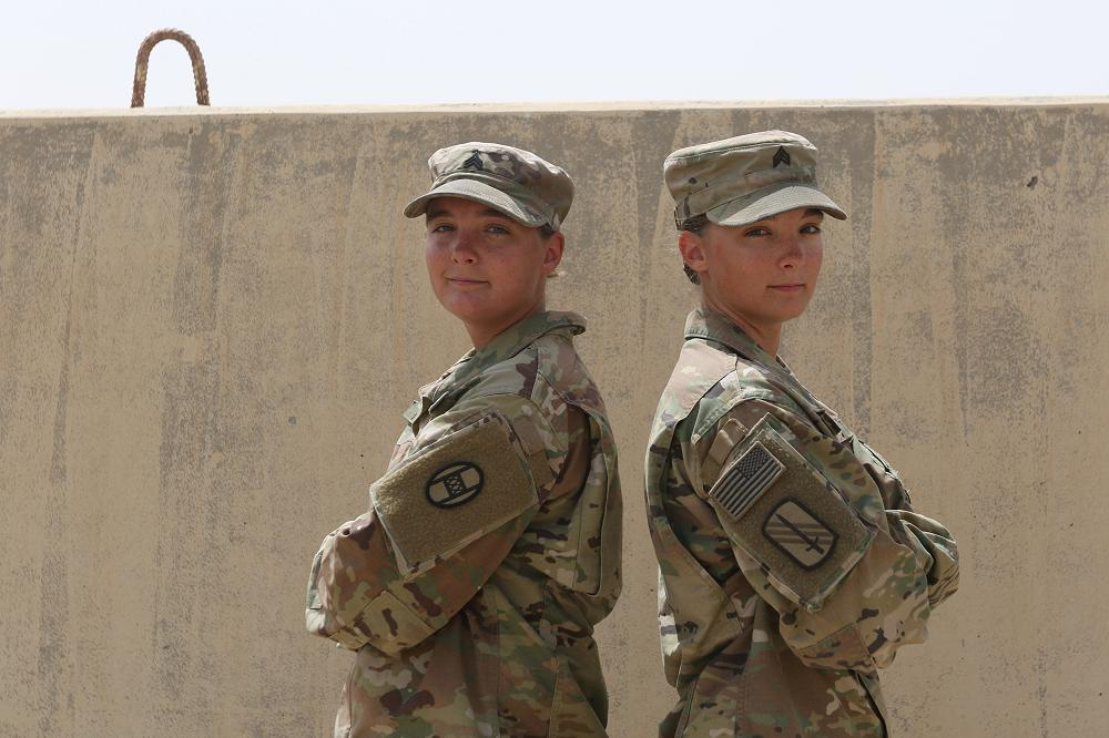 U.S. Army Sgt. Kaela Henasey and Sgt. Karissa Henasey deployed in the Central Command area of responsibility, April 10, 2020. The twin Soldiers are on their second deployment with the 30th Armored Brigade Combat Team, North Carolina National Guard. (Photo by Capt. Regina Corbin)
