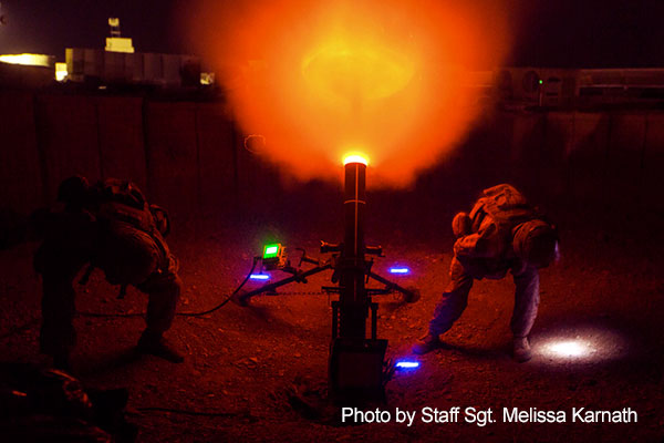 Afghanistan, March 10, 2018 -  Marines fire a 120 mm mortar as a show of force at Camp Shorab in Helmand province.  The Marines are assigned to Task Force Southwest.