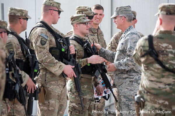 Kandahar Air Field, Afghanistan, April 26, 2018 -   Air Force Gen. Paul J. Selva, vice chairman of the Joint Chiefs of Staff, thanks troops at Kandahar Air Field, Afghanistan.