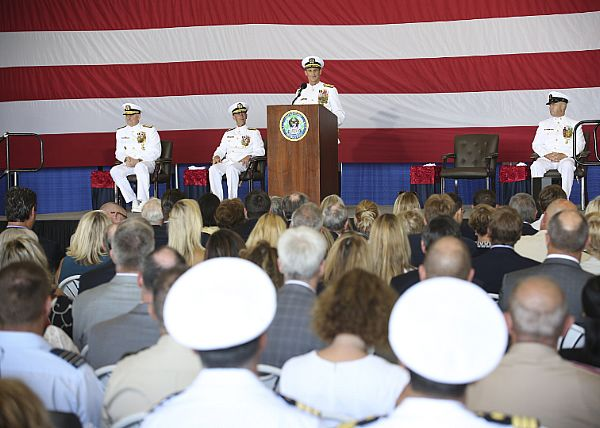 "NORFOLK (Aug. 24, 2018) Vice Adm. Andrew ""Woody"" Lewis address guest as he assumes command of U.S. 2nd Fleet aboard the nuclear aircraft carrier USS George H.W. Bush (CVN 77). U.S. 2nd Fleet will exercise operational and administrative authorities over assigned ships, aircraft and landing forces on the East Coast and North Atlantic. Photo by Mass Communication Specialist 1st Class Gary Prill)"