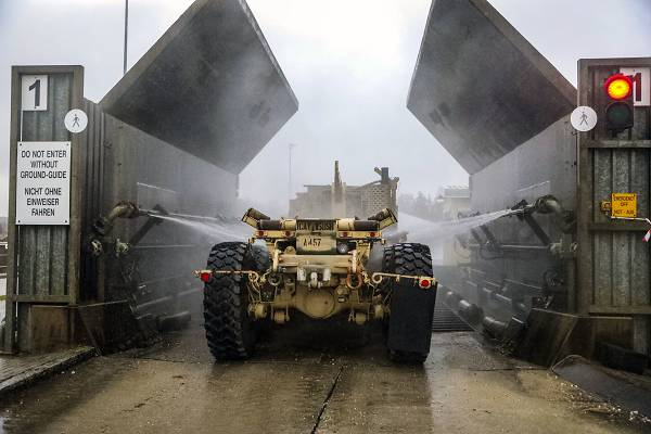 Grafenwoehr, Germany, Jan. 7, 2019 - Camp Aachen Soldiers clean their vehicles at while supporting Atlantic Resolve, a security exercise demonstrating continued U.S. support for NATO allies in Europe.