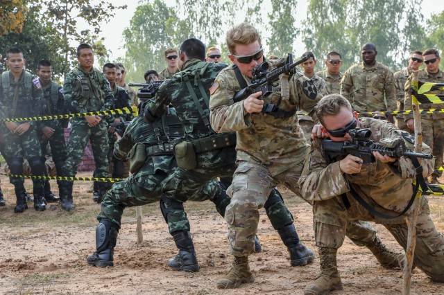 Soldiers from 2nd Infantry Division's 1st Stryker Brigade Combat Team and the Royal Thai Army conduct training during the Cobra Gold exercise in Phitsanulok, Thailand, Feb. 13, 2019. Cobra Gold is the largest theater security cooperation exercise in the Indo-Pacific and is an integral part of the U.S. commitment to strengthen engagement in the region. (Photo Credit: Sgt. Alvin Reeves)