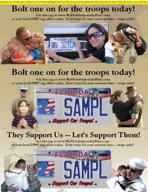 Support Our Troops Florida Vanity License Plate 3 up plate posters