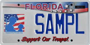 Support Our Troops Florida Vanity License plate Helps the Troops