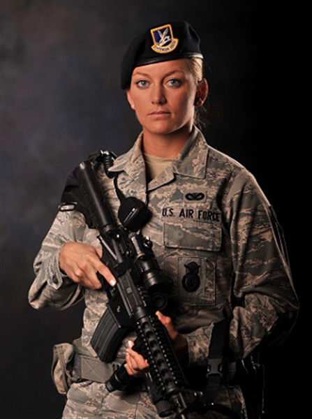 Air Force Senior Airman Julie Breault of the 97th Security Forces Squadron at Altus Air Force Base, Okla., is a 4th-generation service member, and she aspires to be the first female chief master sergeant of the Air Force. Breault said she chose security forces because she feels like she can make a difference as a defender. U.S. Air Force photo by Airman 1st Class Megan E. Acs